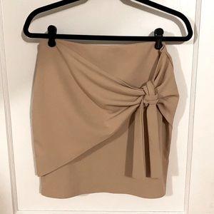 Missguided US size 8 faux wrap tan mini skirt